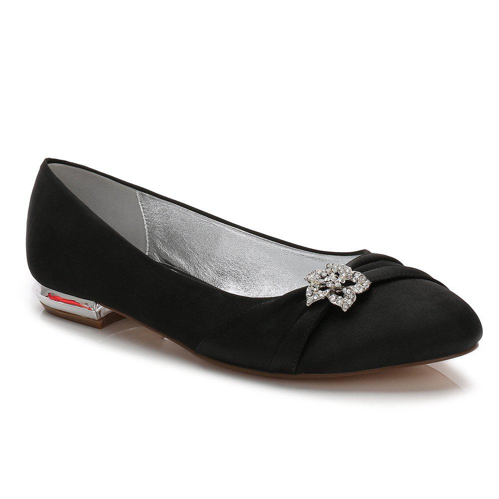 Women's Shoes Satin Spring Summer Comfort Ballerina Wedding Shoes Flat Heel Round Toe Rhinestone Bowknot Applique Satin Flower Sparkling - BLACK 39