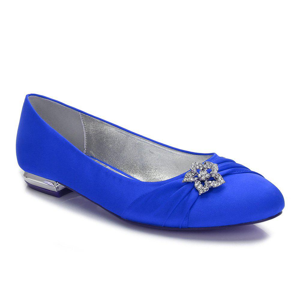 Women's Shoes Satin Spring Summer Comfort Ballerina Wedding Shoes Flat Heel Round Toe Rhinestone Bowknot Applique Satin Flower Sparkling - BLUE 44