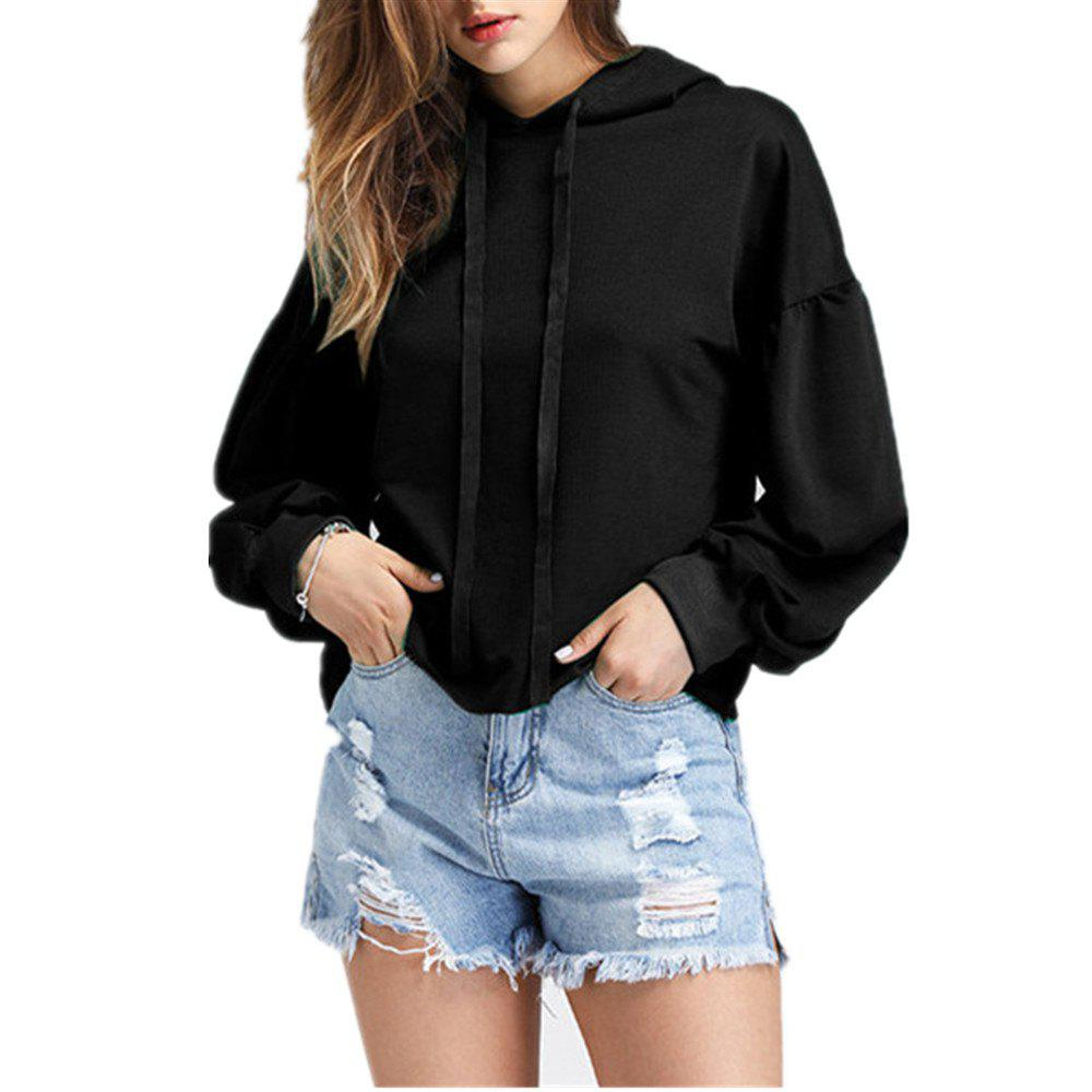 European and American Autumn and Winter New Fashion Long Sleeve Hoodie - BLACK L