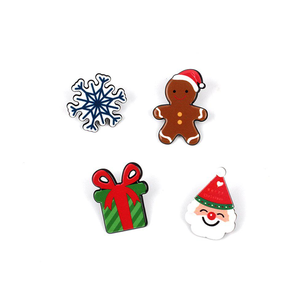 Série de Noël Cute Cartoon Drop Oil Modeling broche cadeau poupée flocon de neige ensemble - coloré 4PCS