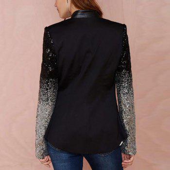 Black Blazer Women Casual Jacket Sequin Long Sleeve Spring Women Coat - BLACK 2XL