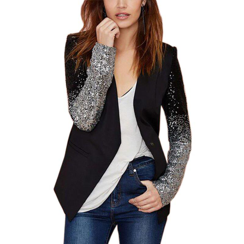 Black Blazer Women Casual Jacket Sequin Long Sleeve Spring Women Coat - BLACK L