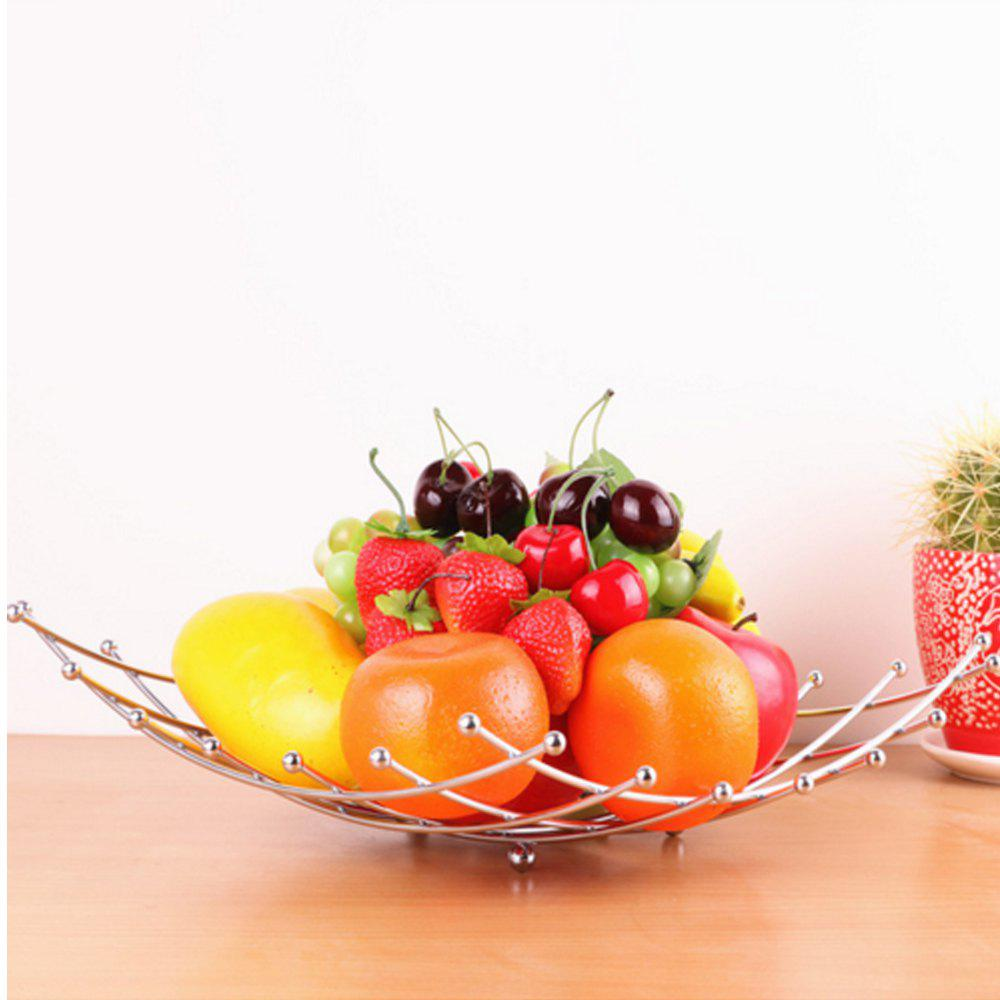 Fruit Basket Wire Electroplate Style Bowl Vegetable Washing Basket Storage for Kitchen - SILVER