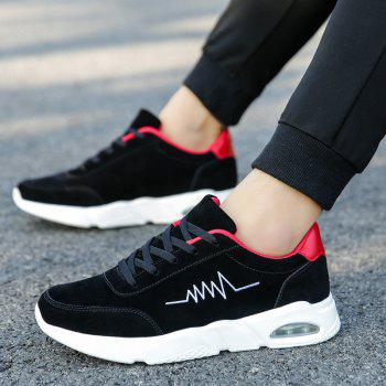 Athletic Breathable Cushion Men Running Shoes Sport Outdoor Jogging Walking Sneakers - BLACK/RED 43