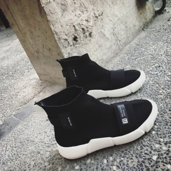 Couple Sock Shoes Breathable Cushion Men Running Boots Sport Outdoor Jogging Walking Sneakers - BLACK 37
