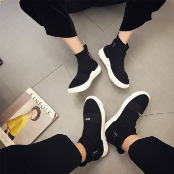 Couple Sock Shoes Breathable Cushion Men Running Boots Sport Outdoor Jogging Walking Sneakers - BLACK 36