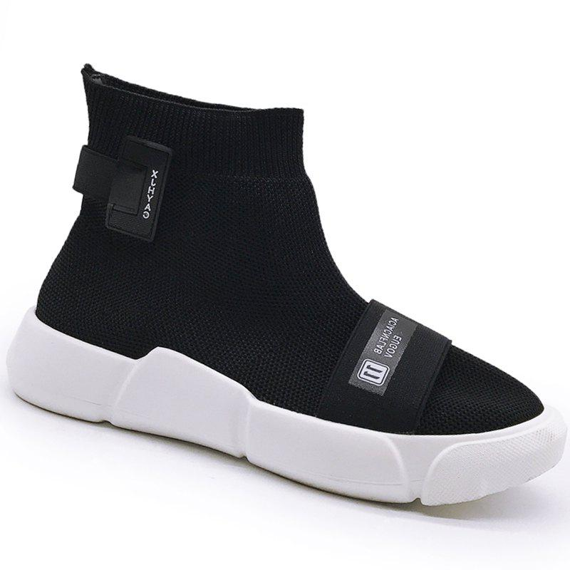 Couple Sock Shoes Breathable Cushion Men Running Boots Sport Outdoor Jogging Walking Sneakers - BLACK 39