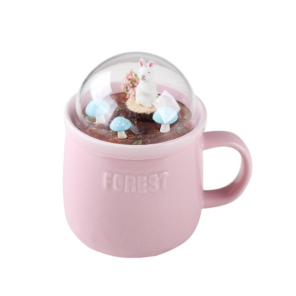 400ML Creative Forest Landscape Ceramic Cup - PINK