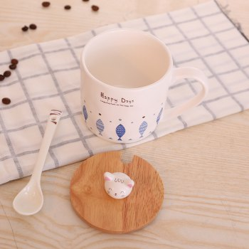 400ML Cute Cat and Fish Cartoon Ceramic Cup - 混合色(COLORMIX) 混合色(COLORMIX)
