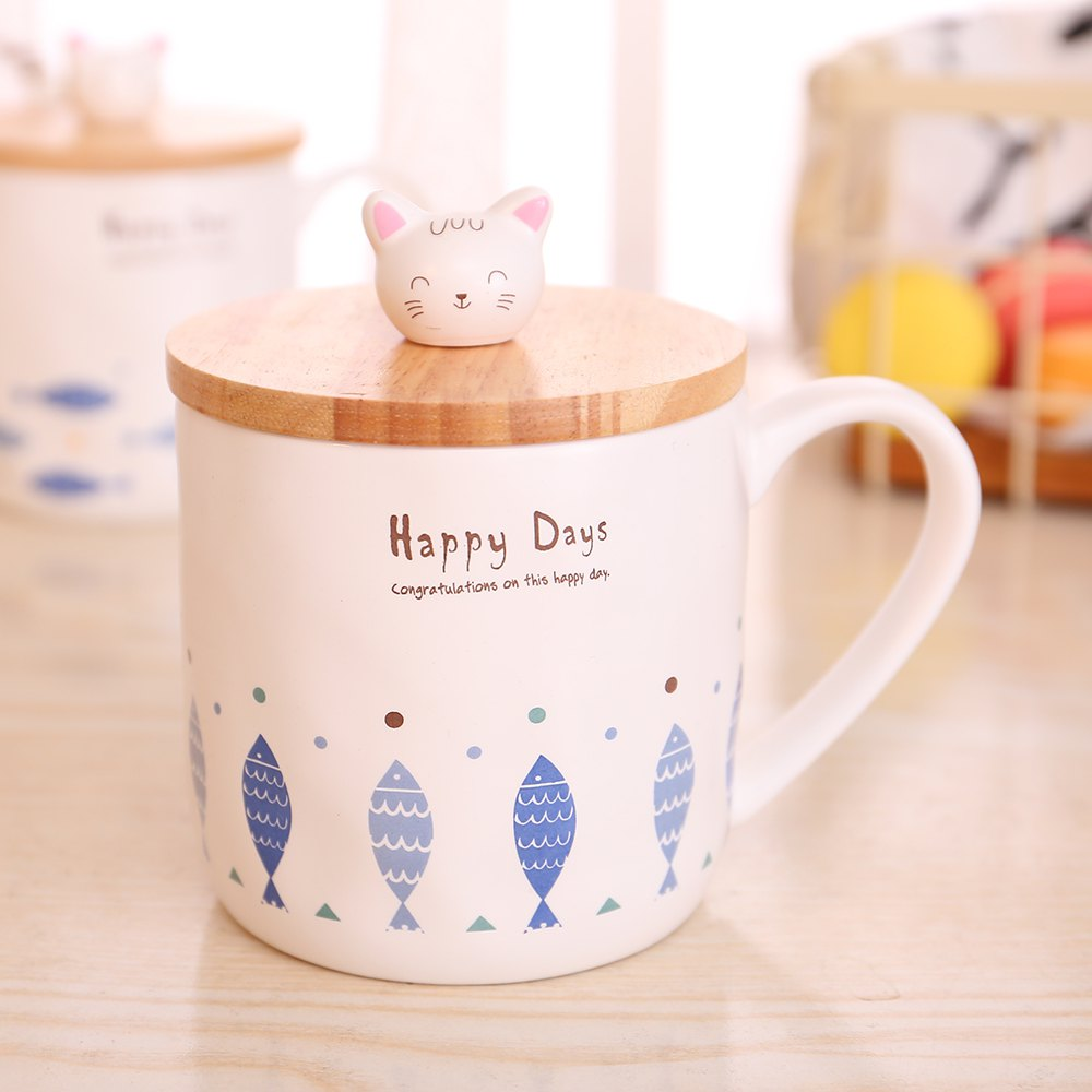 400ML Cute Cat and Fish Cartoon Ceramic Cup - 混合色(COLORMIX) STYLE 1