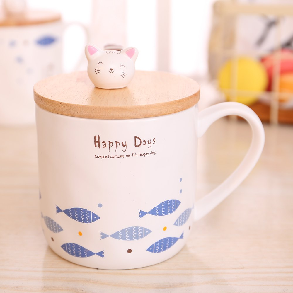 400ML Cute Cat and Fish Cartoon Ceramic Cup - COLORMIX STYLE 2