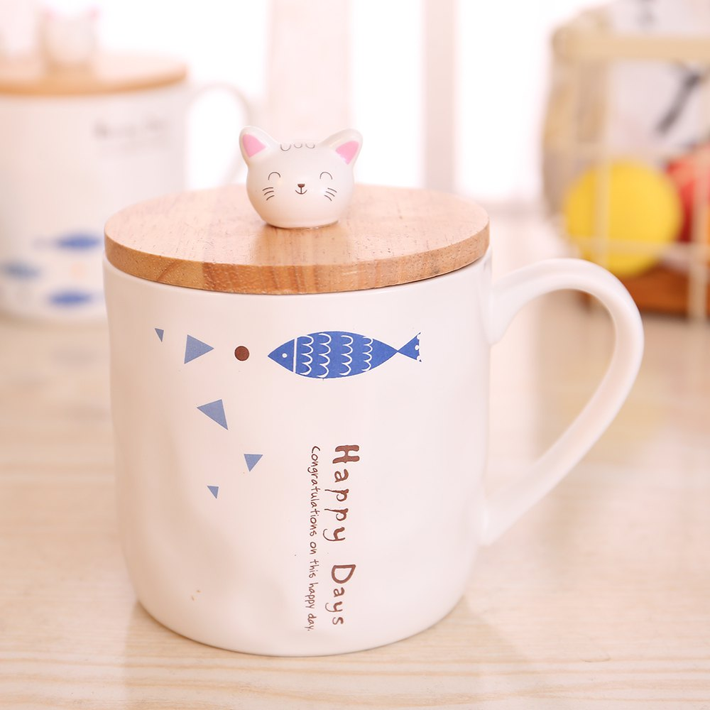 400ML Cute Cat and Fish Cartoon Ceramic Cup - COLORMIX STYLE 3
