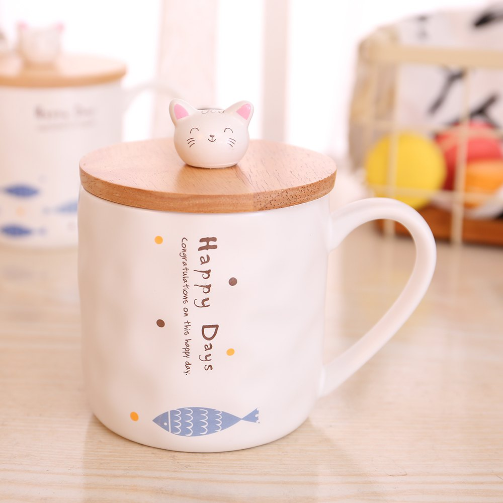 400ML Cute Cat and Fish Cartoon Ceramic Cup - COLORMIX STYLE 4