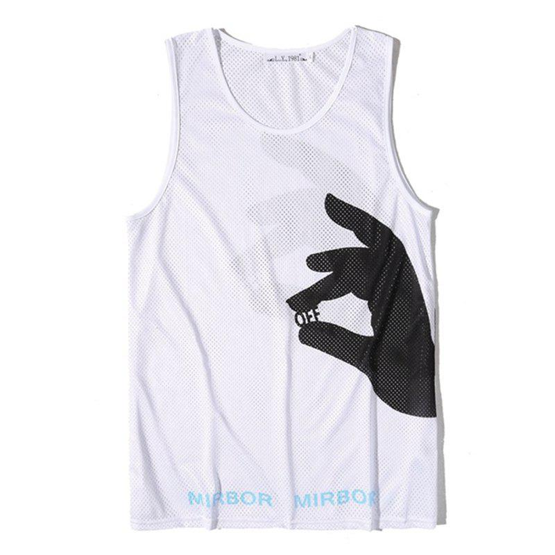 Men Print Quick-drying Tank Top - WHITE XL