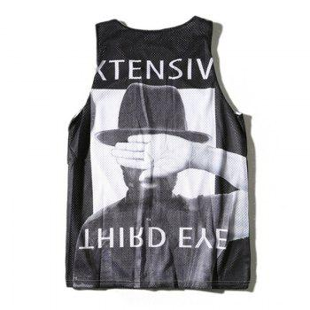 Men's Head Prints Sport Quick-drying Tank Top - BLACK BLACK