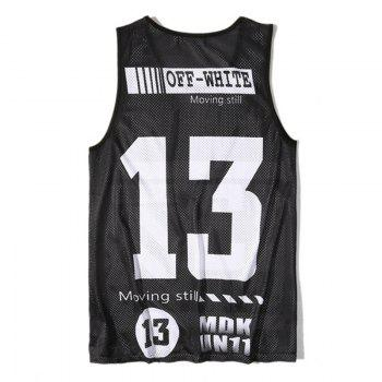Men's Digital Print Sports Single-layer Tank Top - BLACK BLACK
