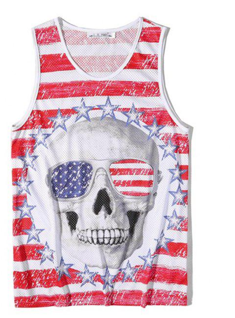 Men's Fashion Skull Printed Tank Top - RED M