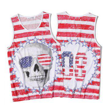 Men's Fashion Skull Printed Tank Top - RED RED