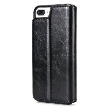 Stone Grain Wallet Stent Bumpers for iPhone 7 - BLACK