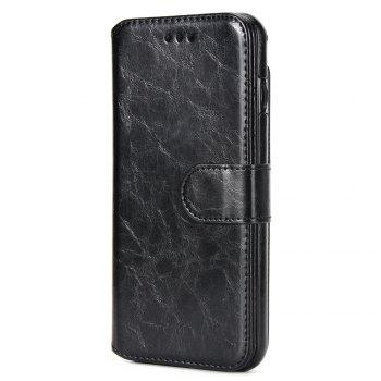 Stone Grain Wallet Stent Bumpers for iPhone 7 - BLACK BLACK