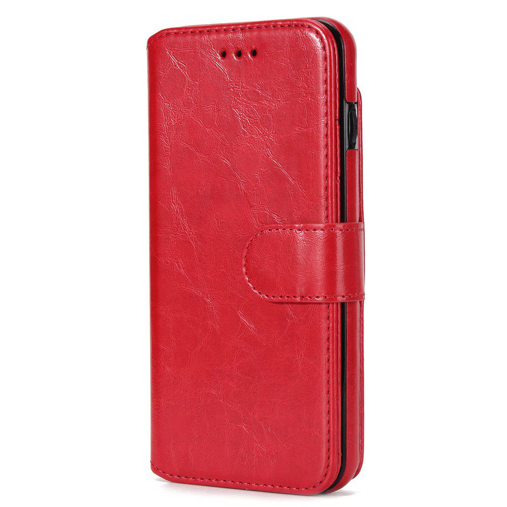 Stone Grain Wallet Stent Bumpers for iPhone 7 - RED