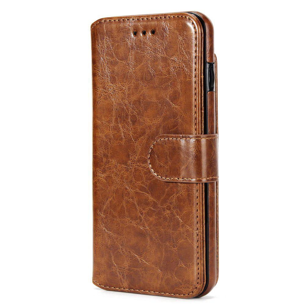 Stone Grain Wallet Stent Bumpers for iPhone 7 - BROWN