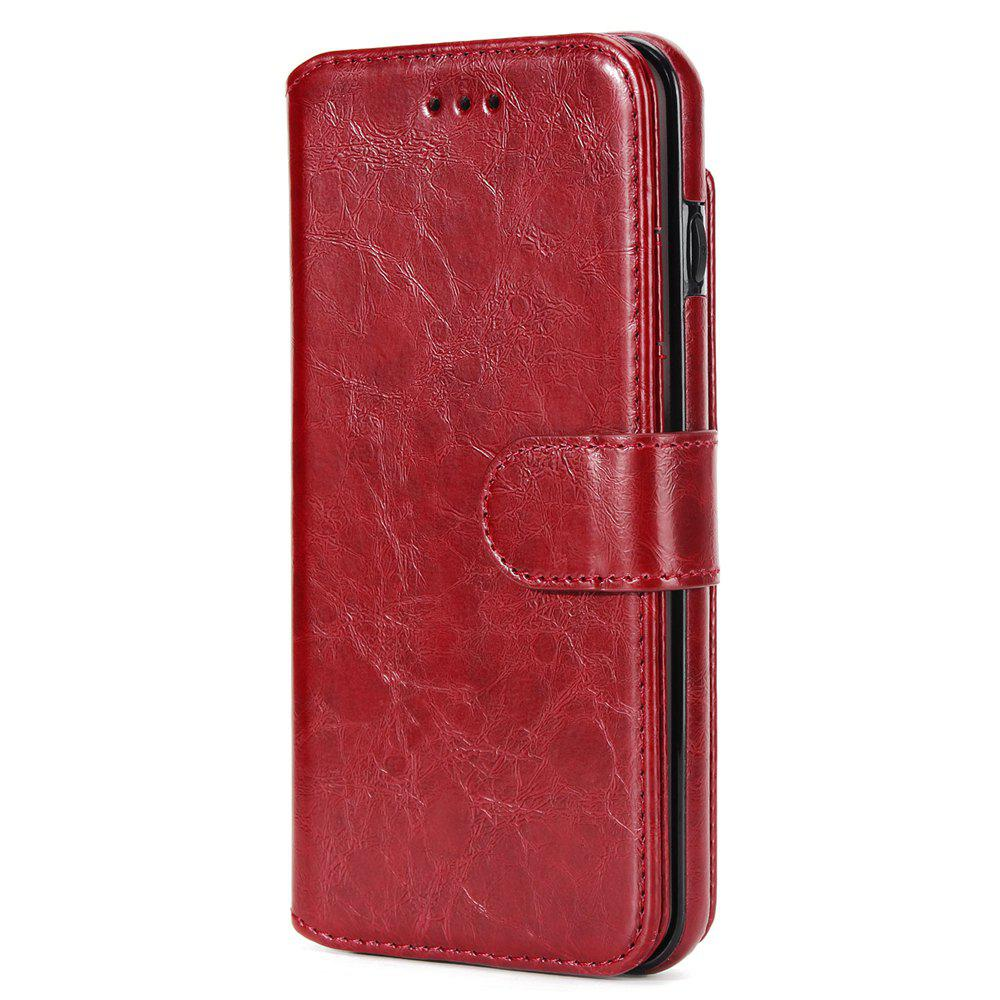 Stone Grain Wallet Stent Bumpers for iPhone 7 - BURGUNDY