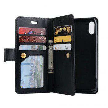 For iPhone X Card Wallet Flip Leather Stand Zipper Phone Case Cover - BLACK