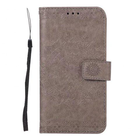 Totem Flower Wallet Case PU Leather TPU Inner Book Cover with Kickstand ID Card Slots Magnetic Closure Protective Skin for iPhone X - GRAY