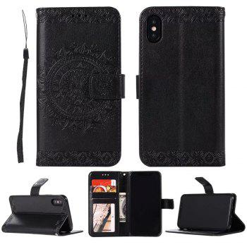 Totem Flower Wallet Case PU Leather TPU Inner Book Cover with Kickstand ID Card Slots Magnetic Closure Protective Skin for iPhone X - BLACK
