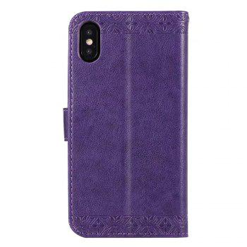 Totem Flower Wallet Case PU Leather TPU Inner Book Cover with Kickstand ID Card Slots Magnetic Closure Protective Skin for iPhone X - PURPLE