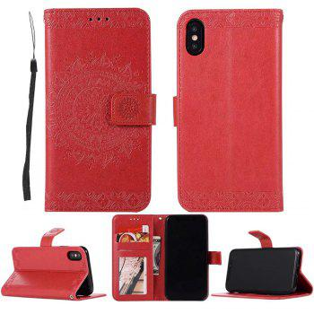 Totem Flower Wallet Case PU Leather TPU Inner Book Cover with Kickstand ID Card Slots Magnetic Closure Protective Skin for iPhone X - RED