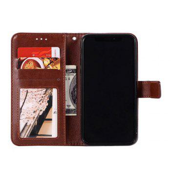 Totem Flower Wallet Case PU Leather TPU Inner Book Cover with Kickstand ID Card Slots Magnetic Closure Protective Skin for iPhone X - BROWN
