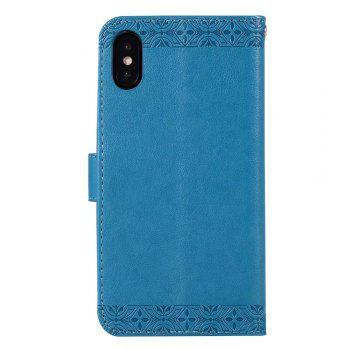 Totem Flower Wallet Case PU Leather TPU Inner Book Cover with Kickstand ID Card Slots Magnetic Closure Protective Skin for iPhone X - BLUE