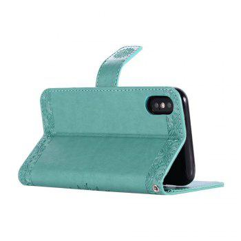 Totem Flower Wallet Case PU Leather TPU Inner Book Cover with Kickstand ID Card Slots Magnetic Closure Protective Skin for iPhone X - GREEN