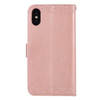 Totem Flower Wallet Case PU Leather TPU Inner Book Cover with Kickstand ID Card Slots Magnetic Closure Protective Skin for iPhone X - PINK