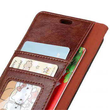 PU Leather TPU Inner Book Cover with Kickstand ID Card Slots Magnetic Closure Protective Skin for iPhone X - BROWN
