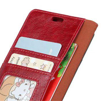 PU Leather TPU Inner Book Cover with Kickstand ID Card Slots Magnetic Closure Protective Skin for iPhone X - RED