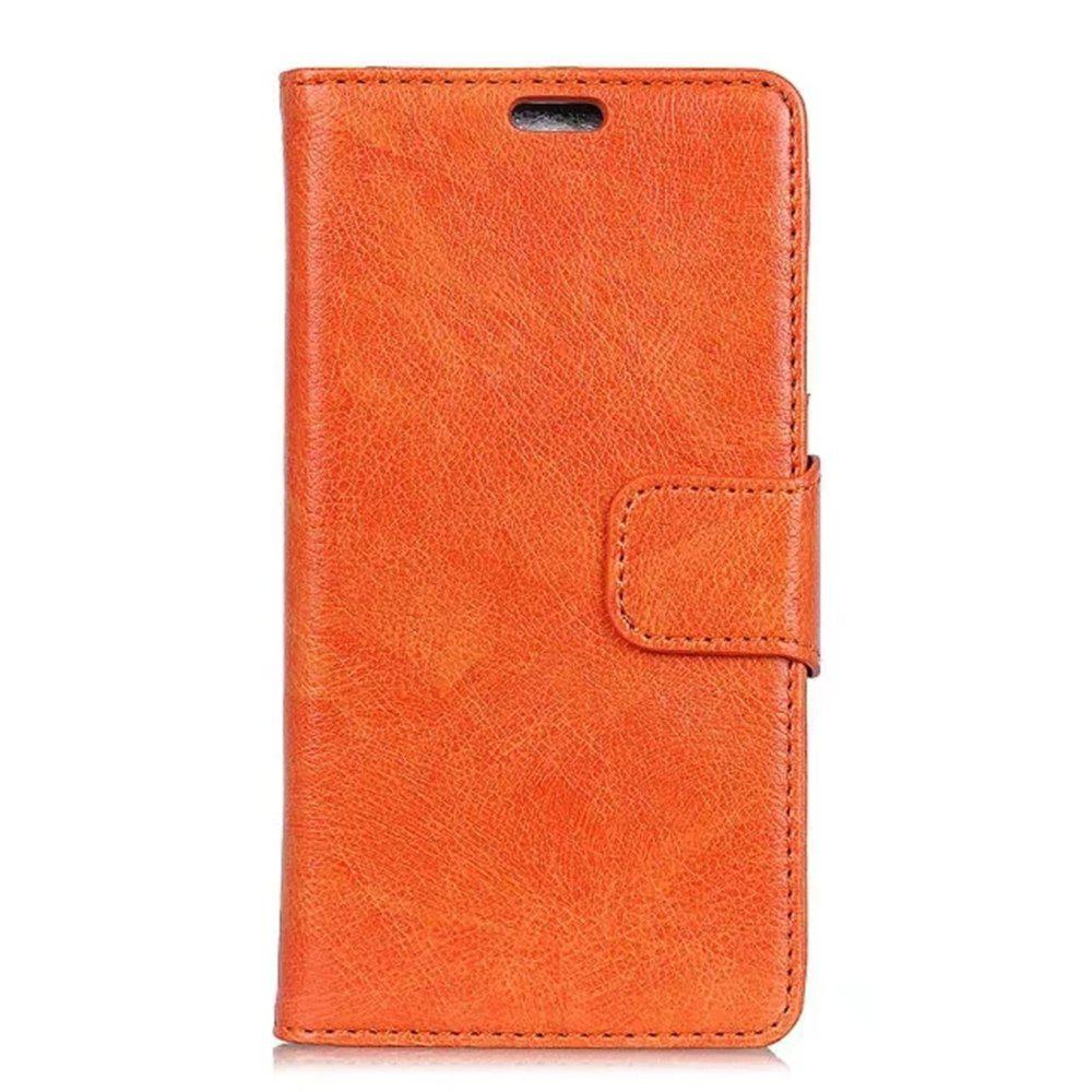 PU Leather TPU Inner Book Cover with Kickstand ID Card Slots Magnetic Closure Protective Skin for iPhone X - ORANGE