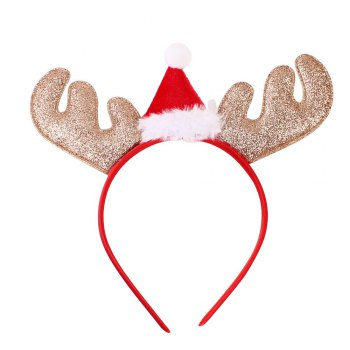Christmas Gift Style Plum Elk Antlers Hair Band for Children - GOLD/RED