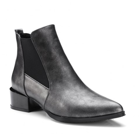 Fashion Low Square Heel All-match Patchwork Ankle Boots - BLACK 34