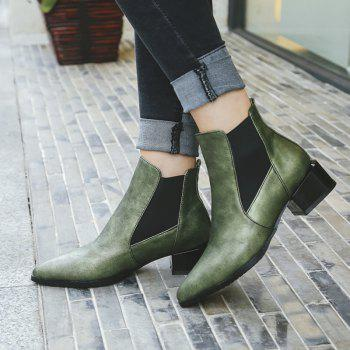 Fashion Low Square Heel All-match Patchwork Ankle Boots - GREEN 34