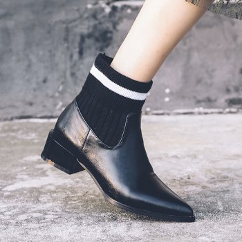 Women's Ankle Boots Thick Heel Solid Color Top Fashion All-match Shoes - BLACK 34
