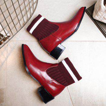 Women's Ankle Boots Thick Heel Solid Color Top Fashion All-match Shoes - WINE RED 34