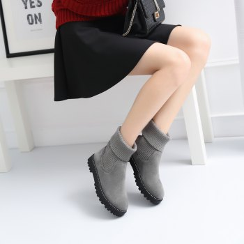 Women's Ankle Boots Fashion Round Toes Solid Color Flat Shoes - GRAY 34