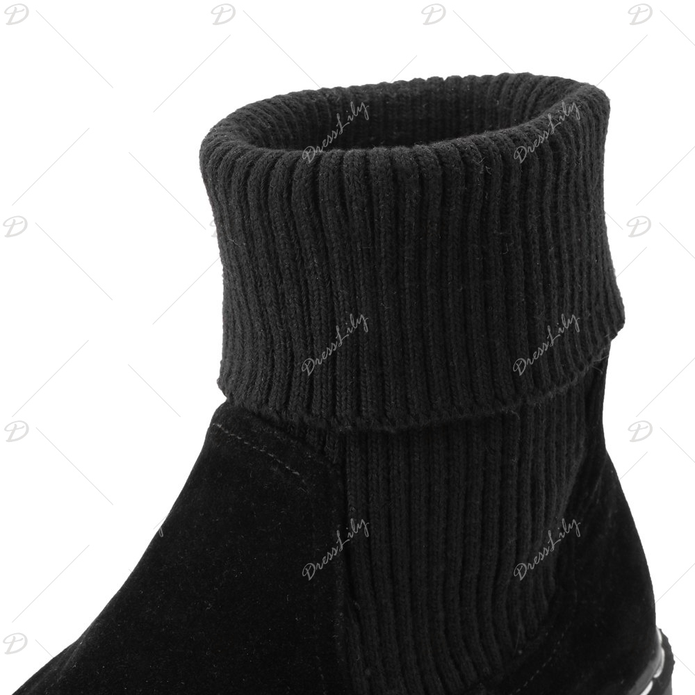 Women's Ankle Boots Fashion Round Toes Solid Color Flat Shoes - BLACK 34