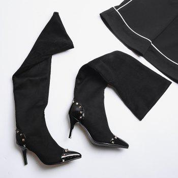 Women's Above Knee Boots Thin Heel Solid Color Brief Faddish Shoes - BLACK 34