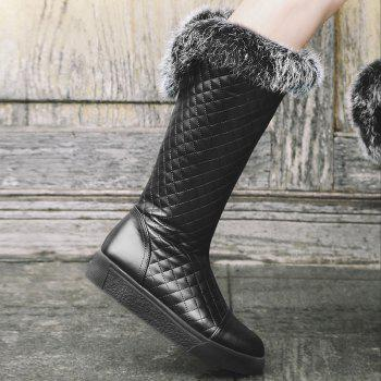Women's Mid Calf Boots Stylish Embellished Fluffy Shoes - BLACK 34