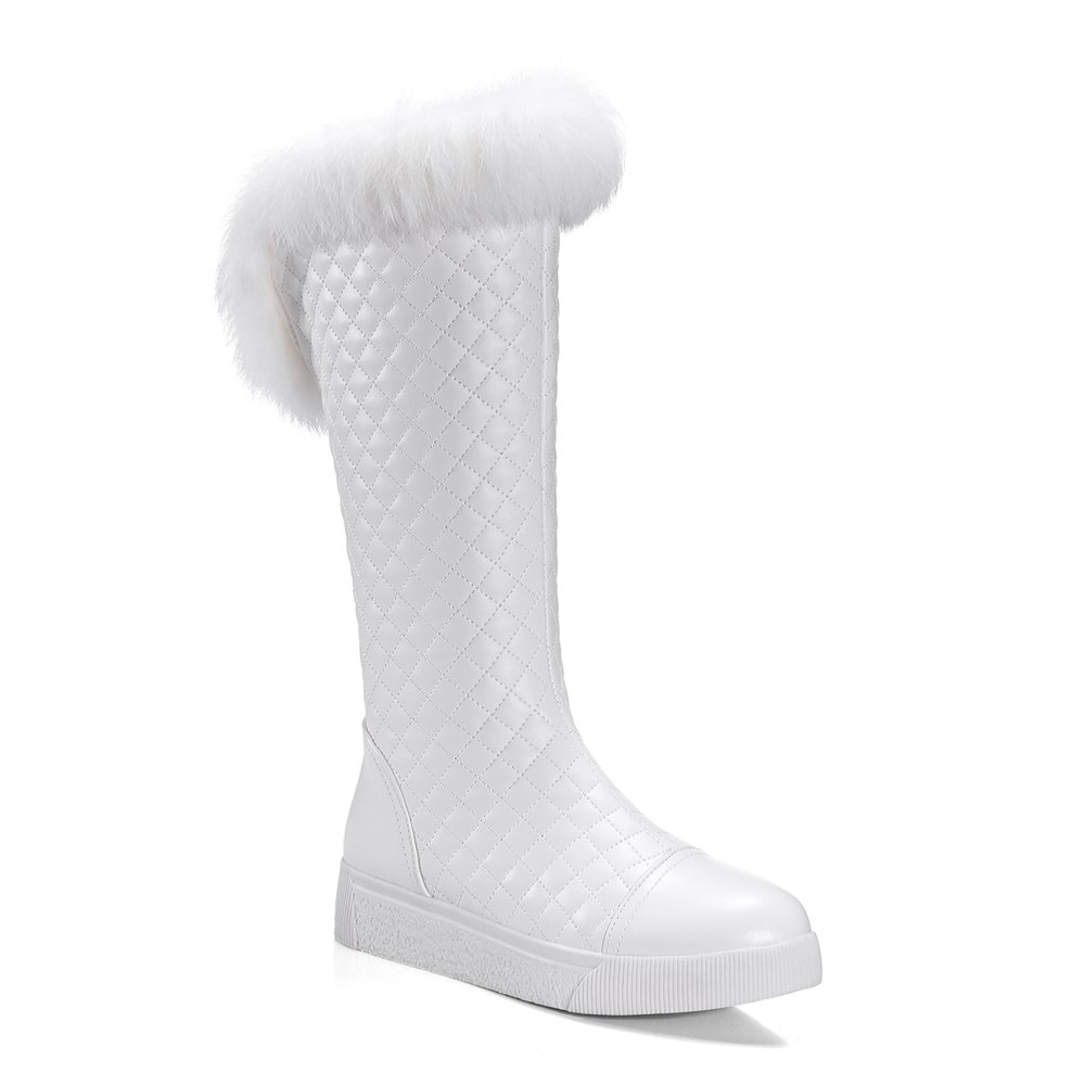 Women's Mid Calf Boots Stylish Embellished Fluffy Shoes - WHITE 34