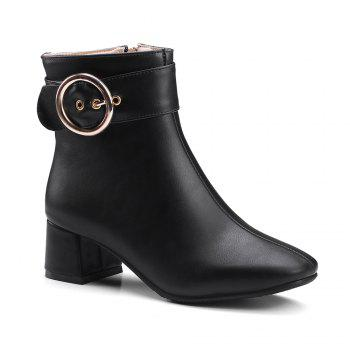 Chic Solid Shiny Metal Circular Ring Ornament Women's Boots - BLACK BLACK